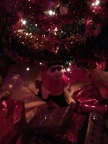 Sant's Boy-Child under Christmas Tree, surrounded by lights.